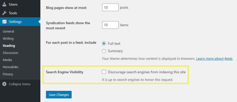 The search engine visibility settings in WordPress.