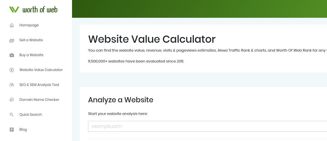 The website value calculator tool on Worth of Web.