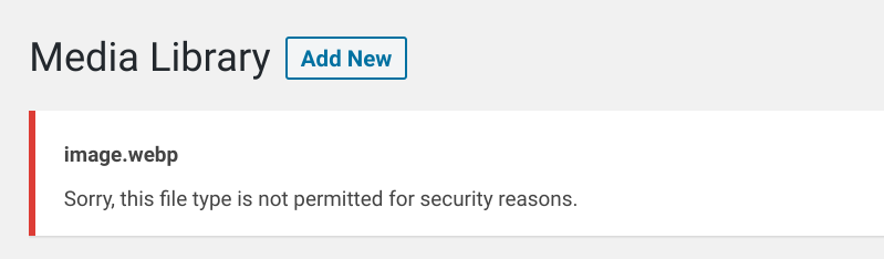 An image error message in the media library of the WordPress dashboard.