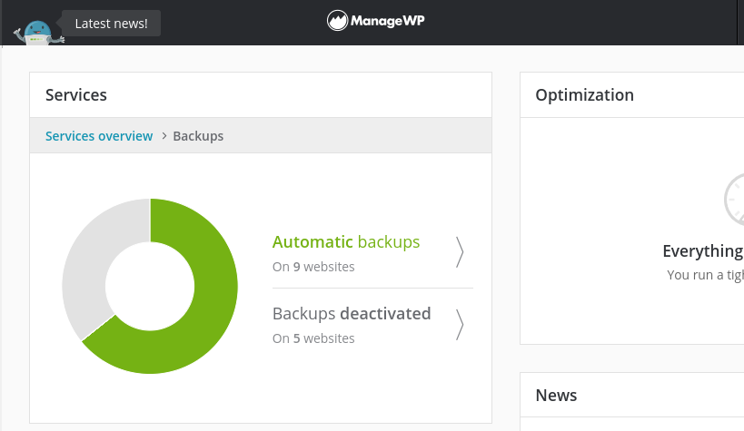 The ManageWP Backup feature.