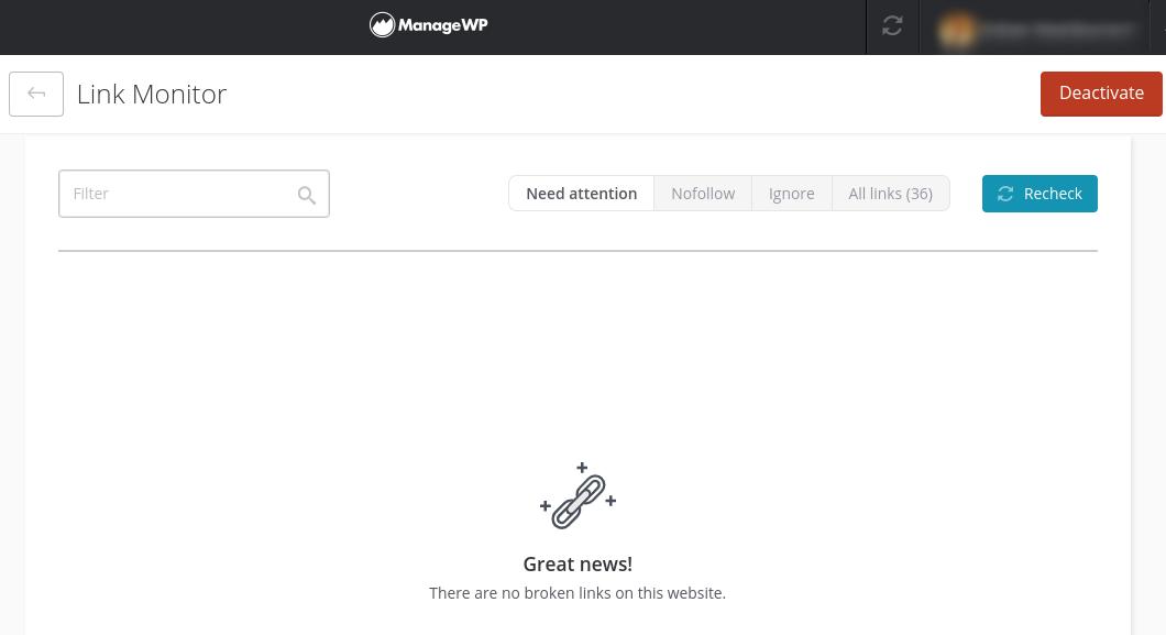 The ManageWP Broken Link Checker tool dashboard.