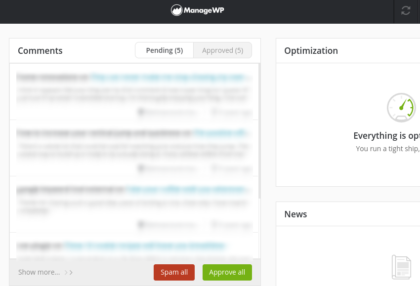 The comment management tool in the ManageWP dashboard.