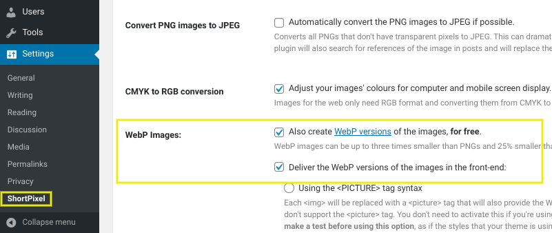 The settings page on the ShortPixel Image Optimizer WordPress plugin.