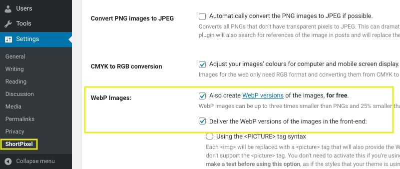 The settings page on the ShortPixel Image Optimizer WordPress plugin.