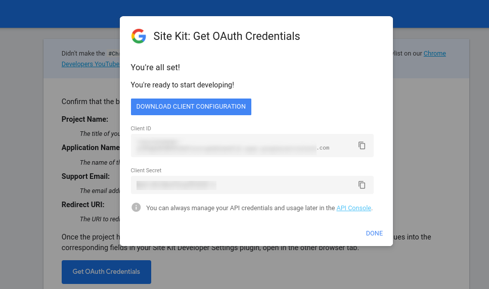 The client credential download page on Google Site Kit.