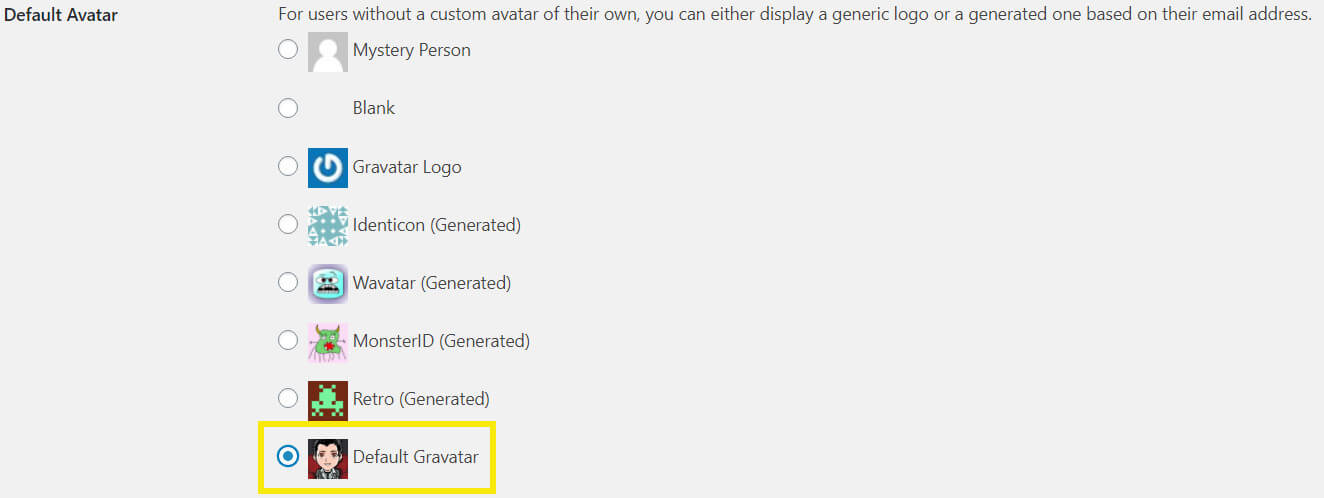 Gravatar menu with new default Gravatar.