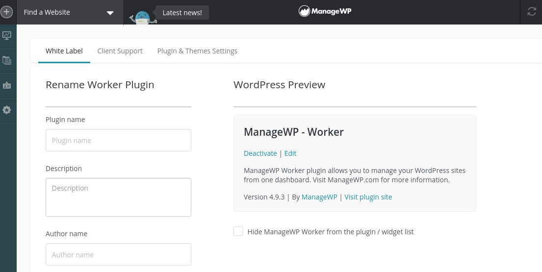 The White Label feature in the ManageWP dashboard.