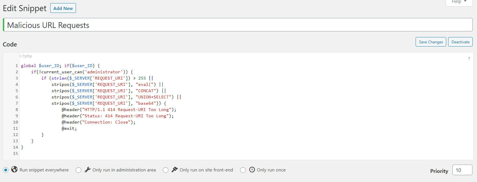 Code snippet in the plugin interface.