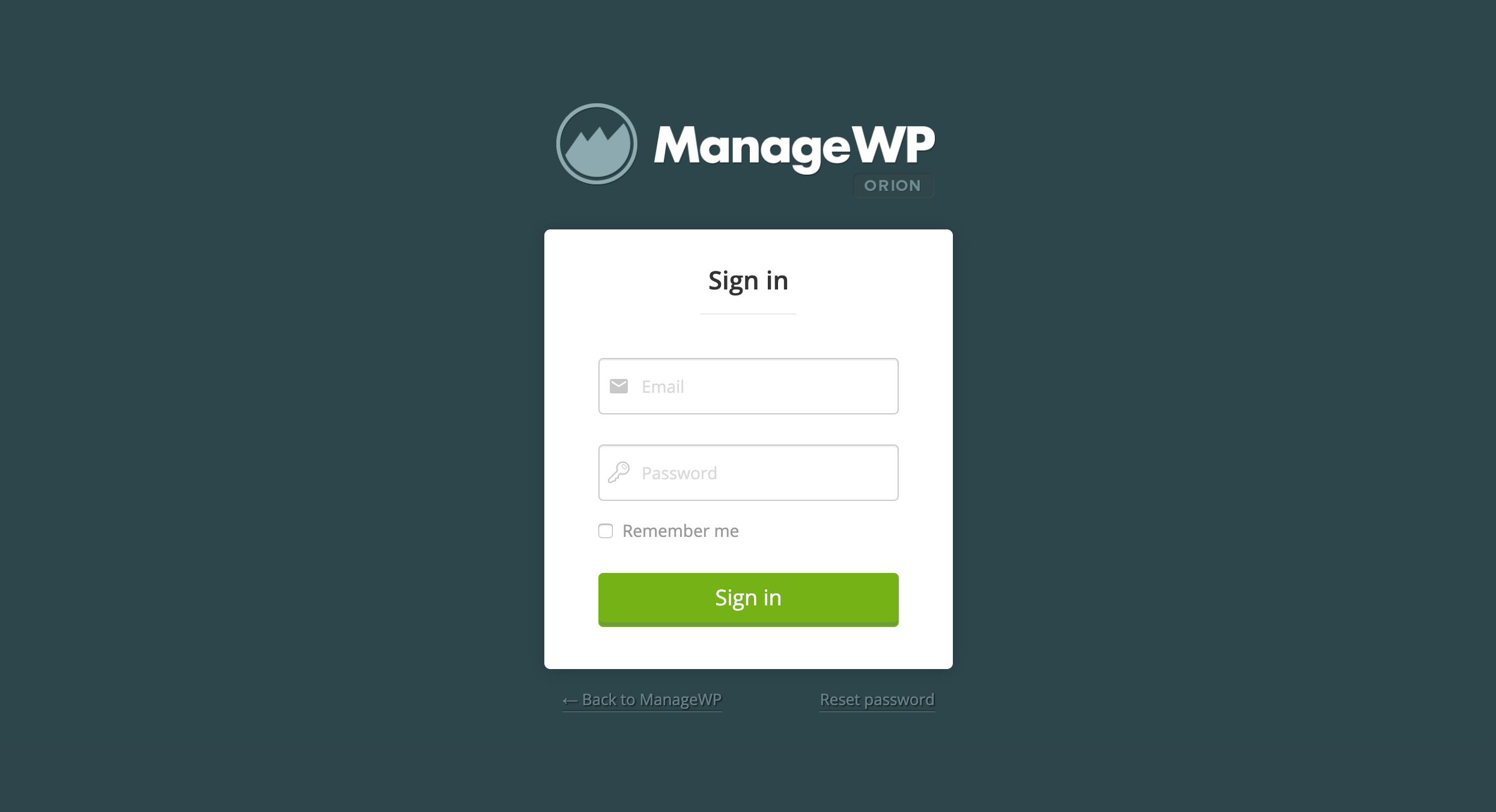 Signing in to ManageWP.