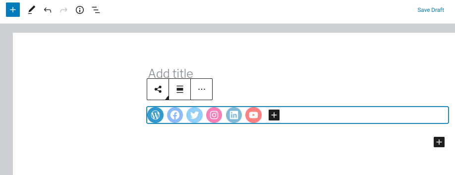 The social links icon block in WordPress.
