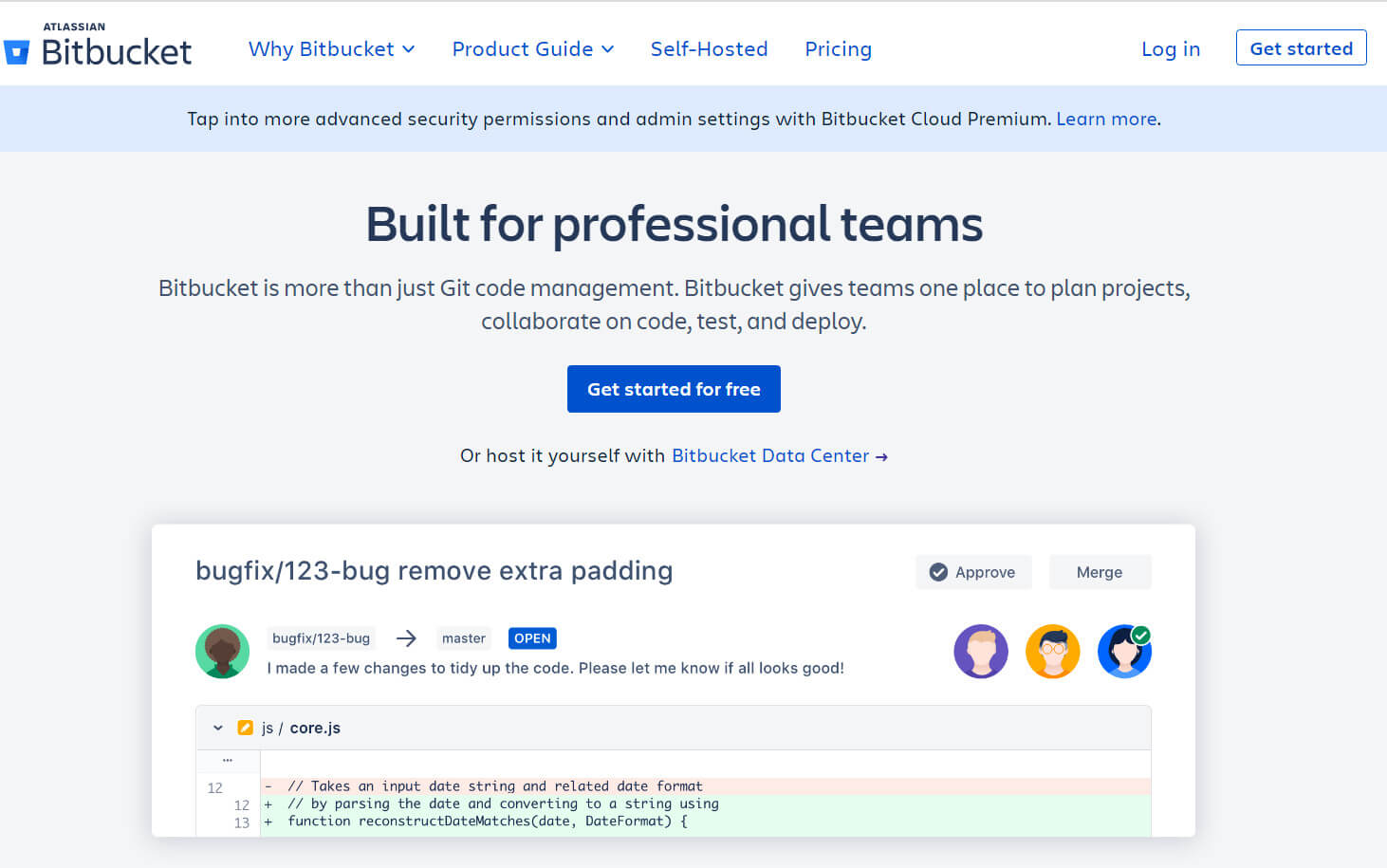 Front page of Bitbucket.
