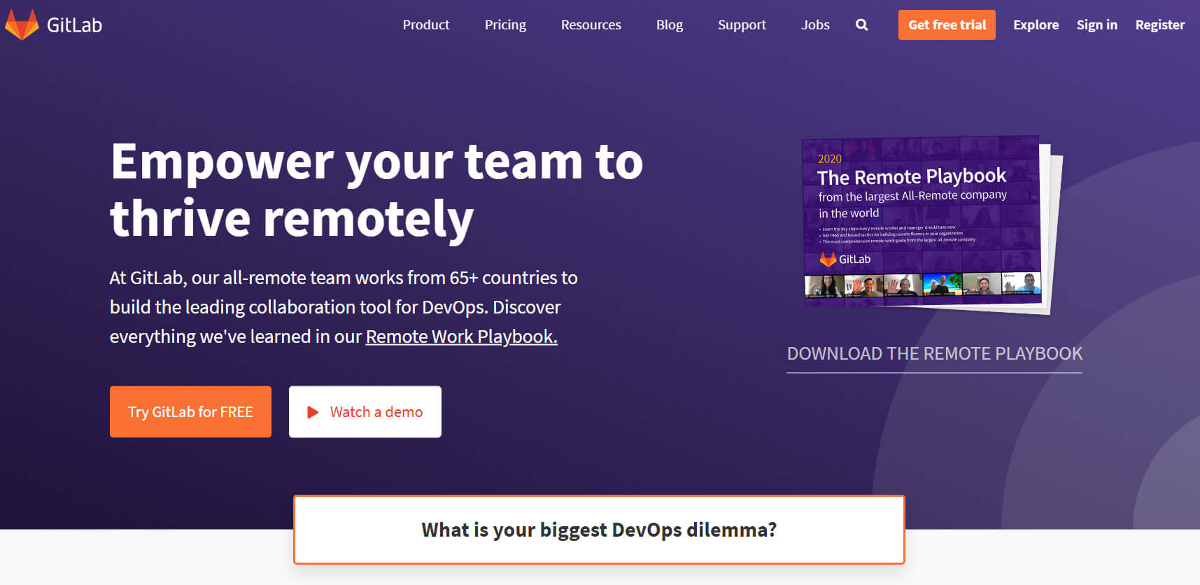 Front page of GitLab.