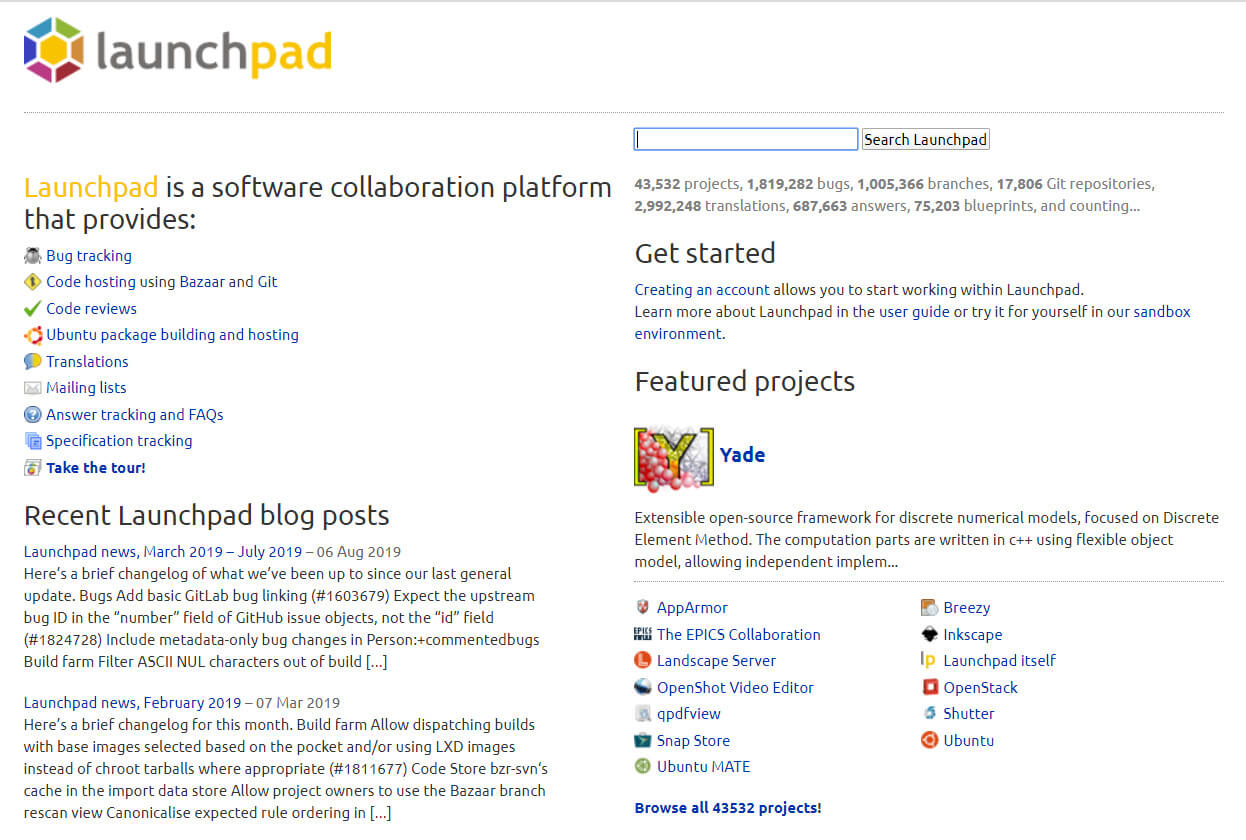 Front page of Launchpad.