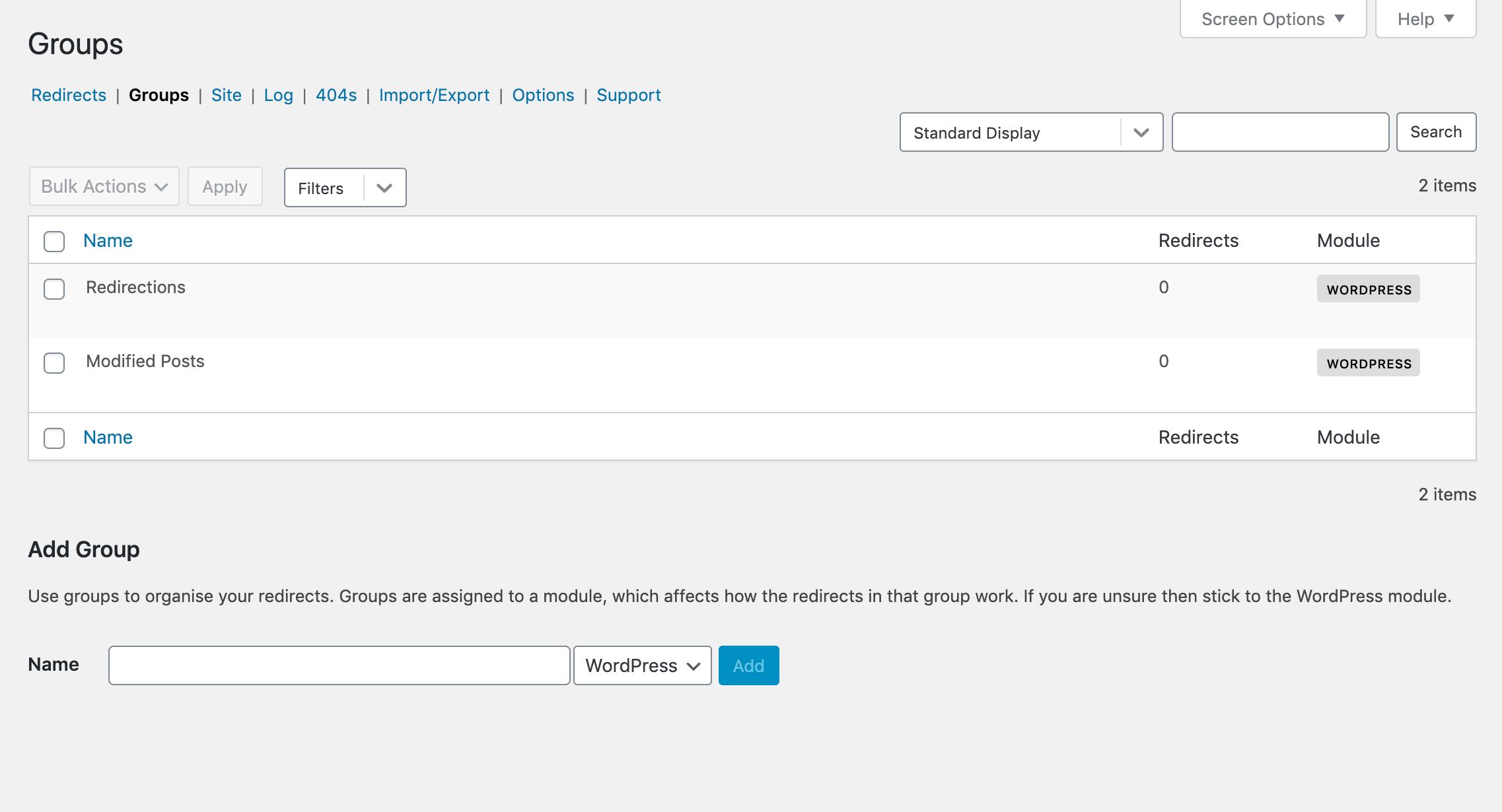 WordPress Redirection plugin groups.