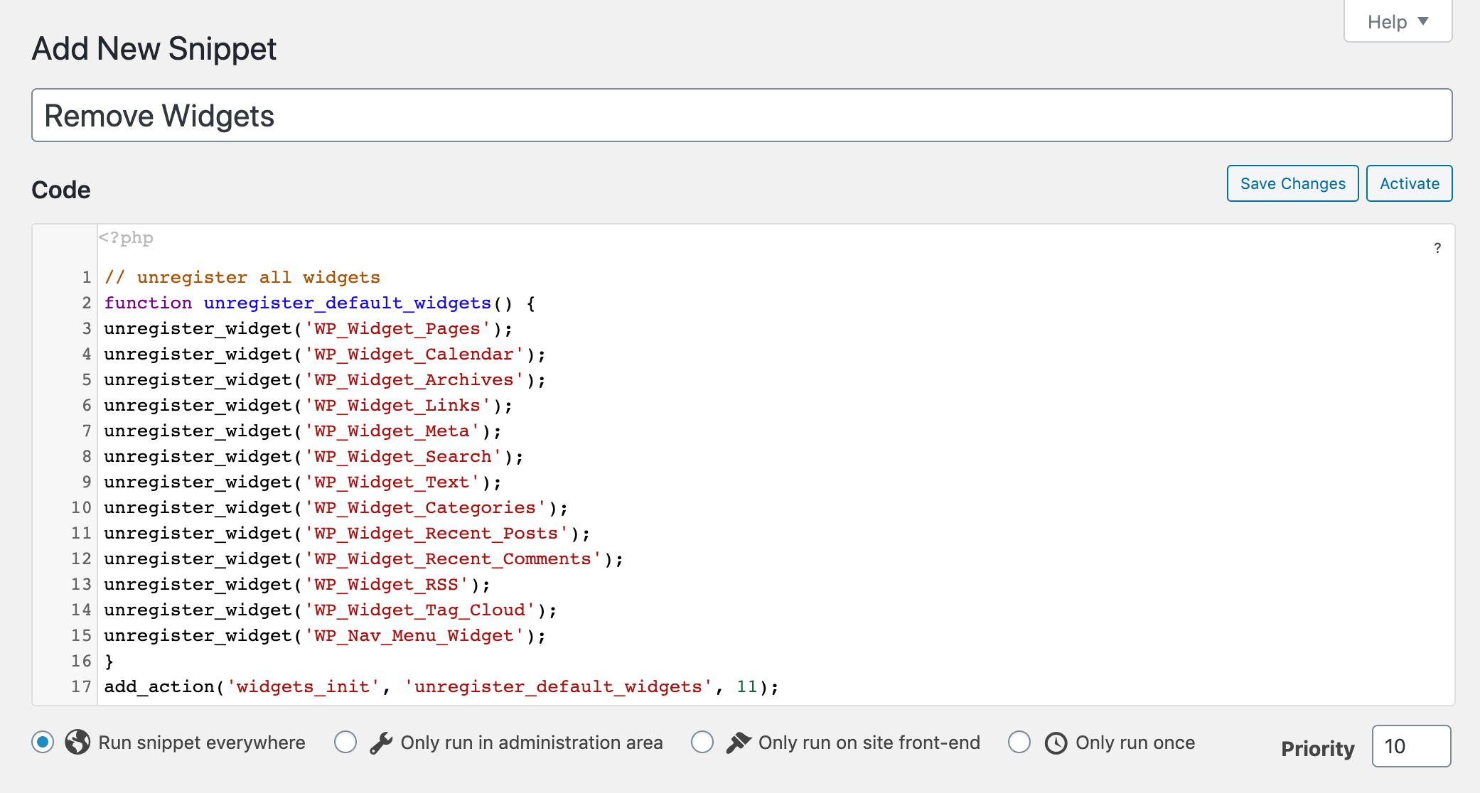 Adding the snippet to remove default widgets to the Code Snippets plugin.