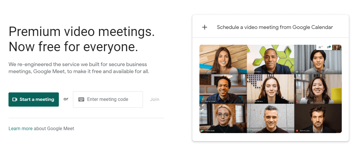 The Google Meet homepage.