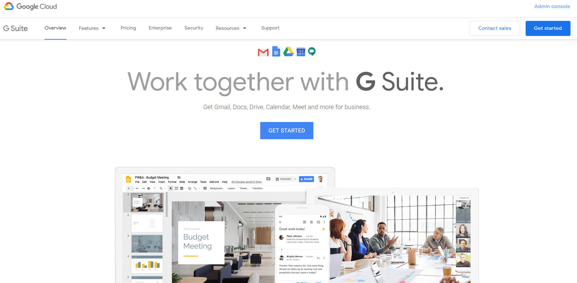 The Google G Suite homepage.