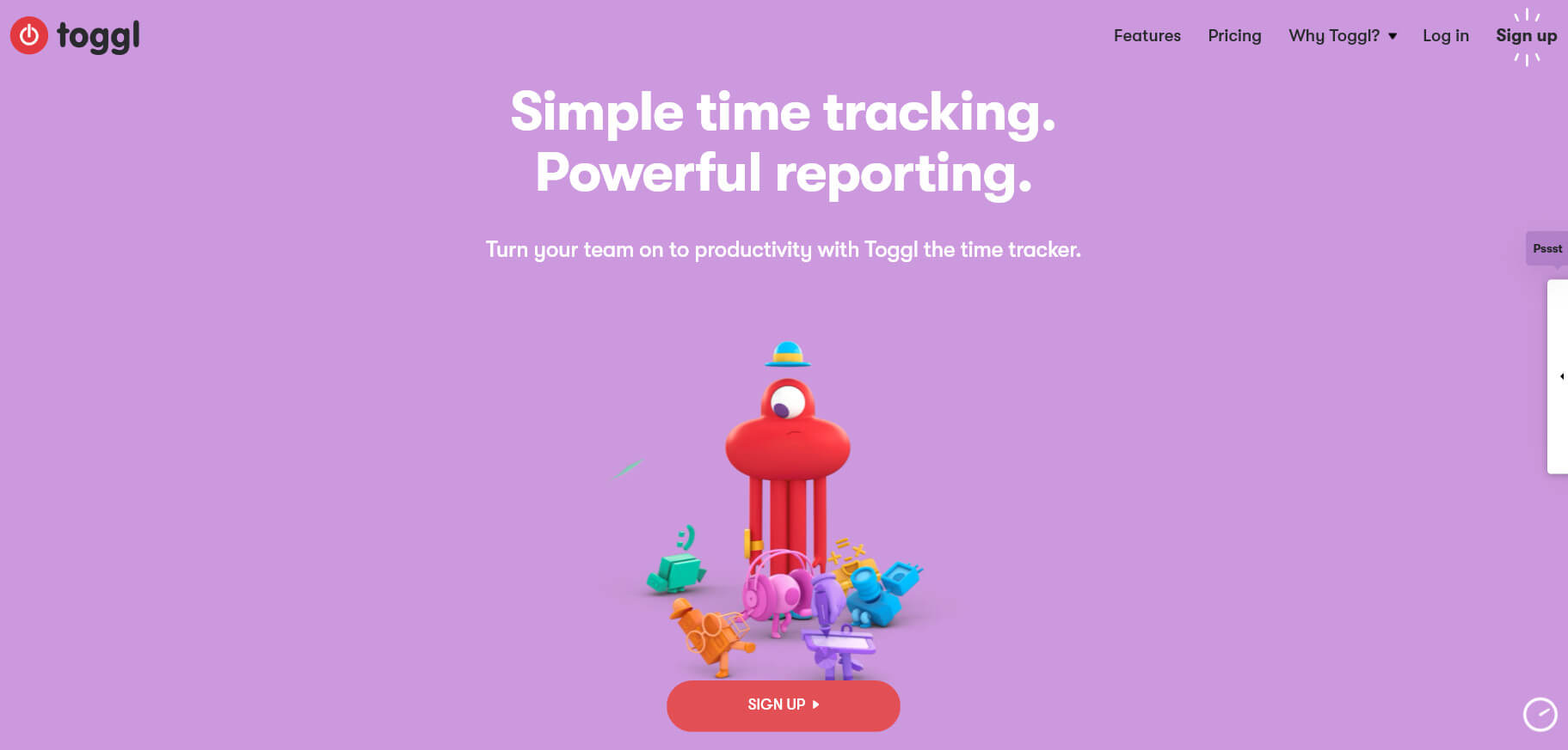 The Toggl homepage.
