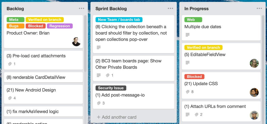 Using Trello for project management.