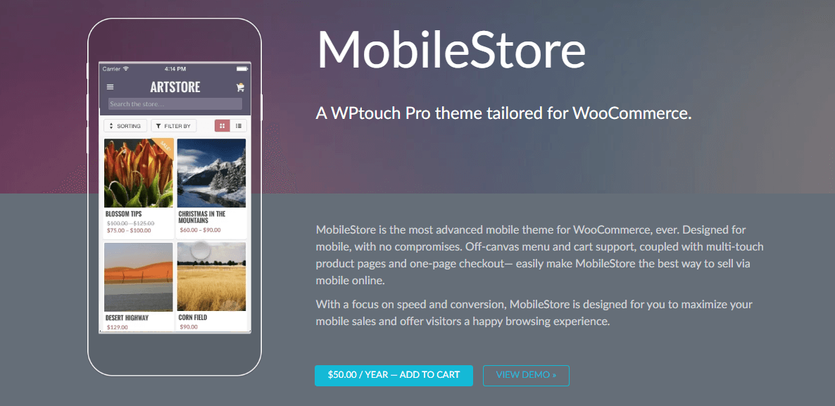 A mobile store in the WPtouch theme.