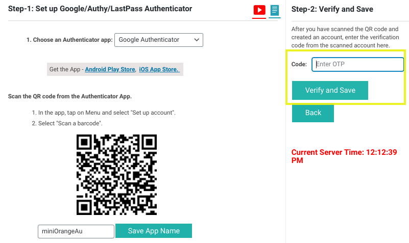 The place to verify and save the Google Authenticator code in the WordPress plugin.