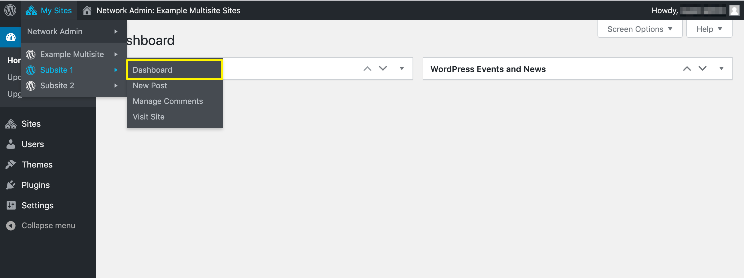 Accessing a subsite dashboard in WordPress multisite.