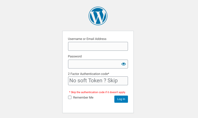 The WordPress login page with 2FA.