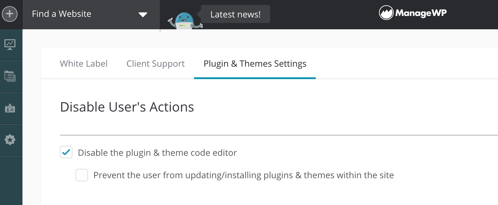 "ManageWP's ""Plugin & Theme Settings"" menu."