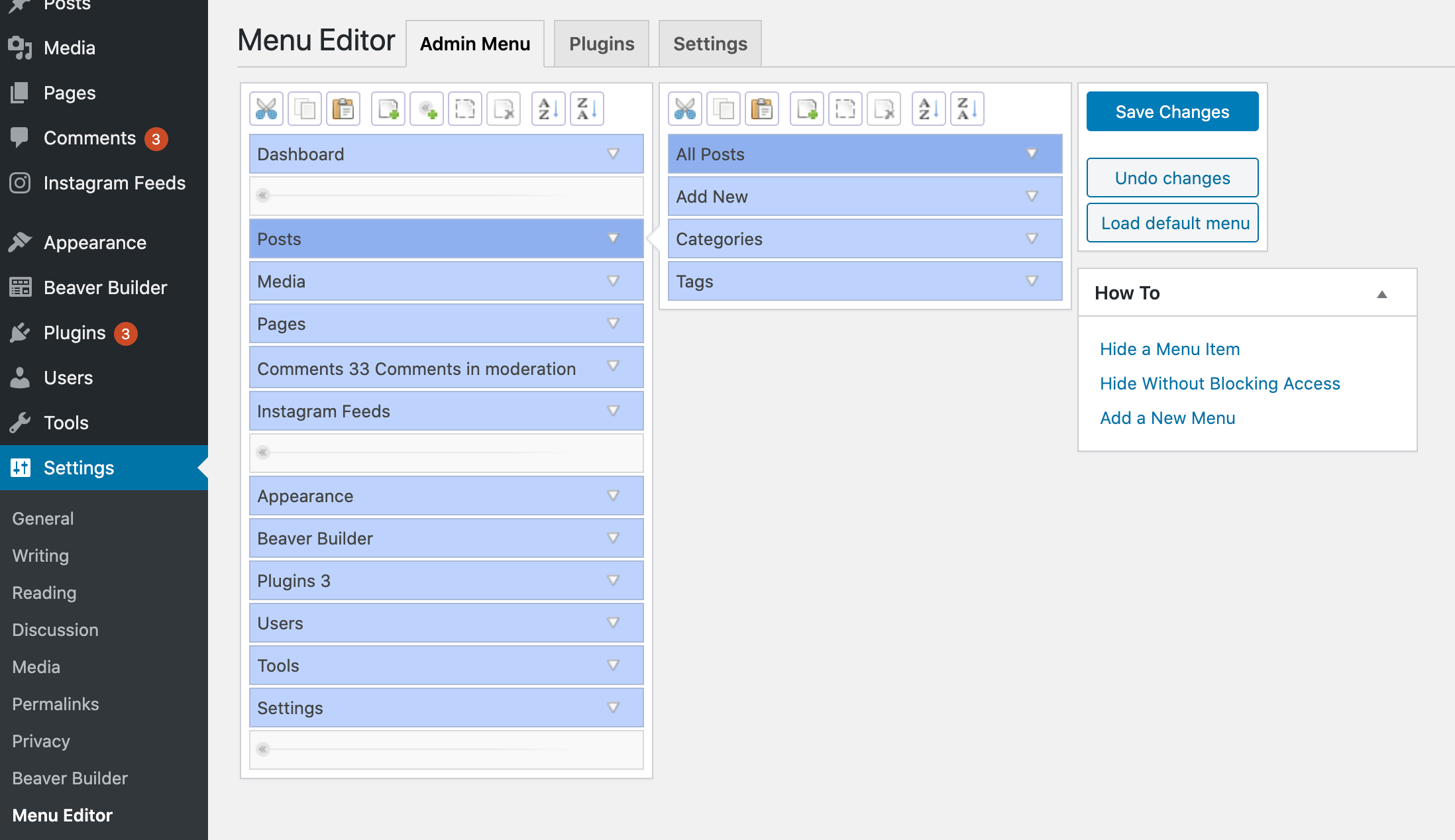 Using Admin Menu Editor to customize the WordPress dashboard menu items.