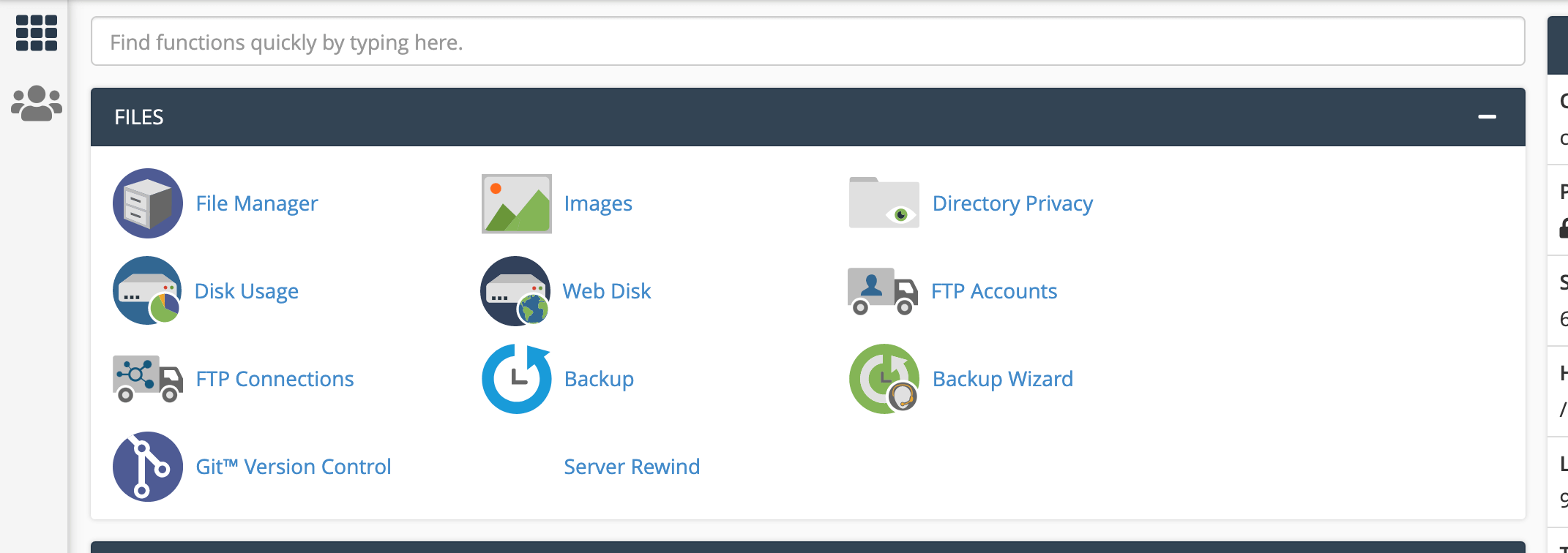 The cPanel dashboard file directory privacy icon.