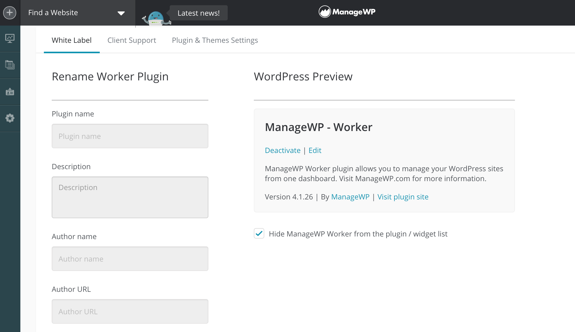 Renaming the ManageWP Worker plugin in the dashboard.