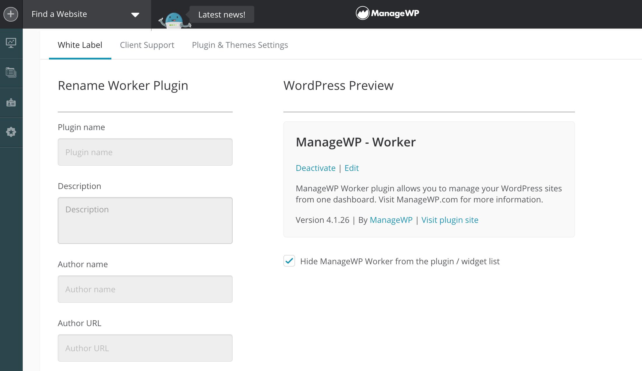"""ManageWP's """"White Label"""" menu."""