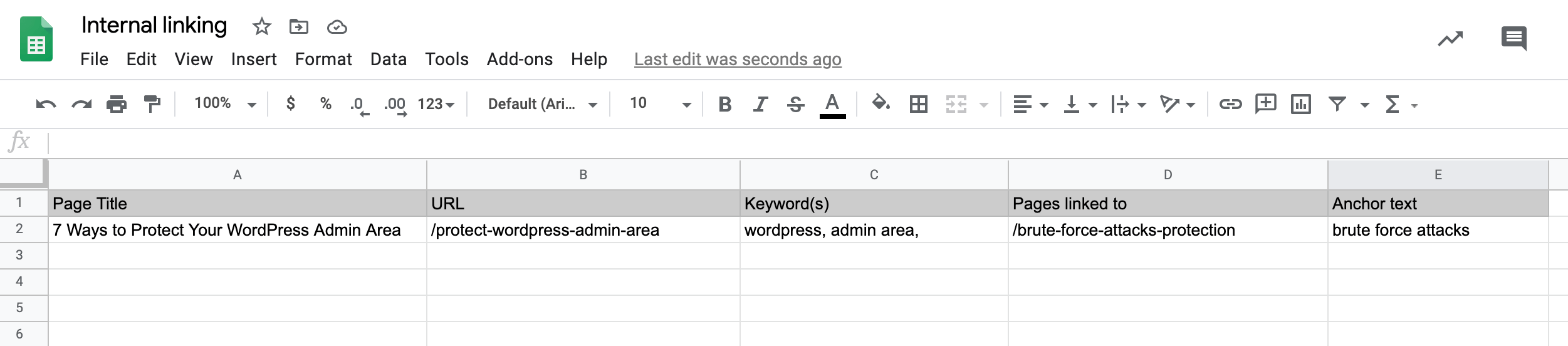 An internal linking spreadsheet created using Google Sheets.