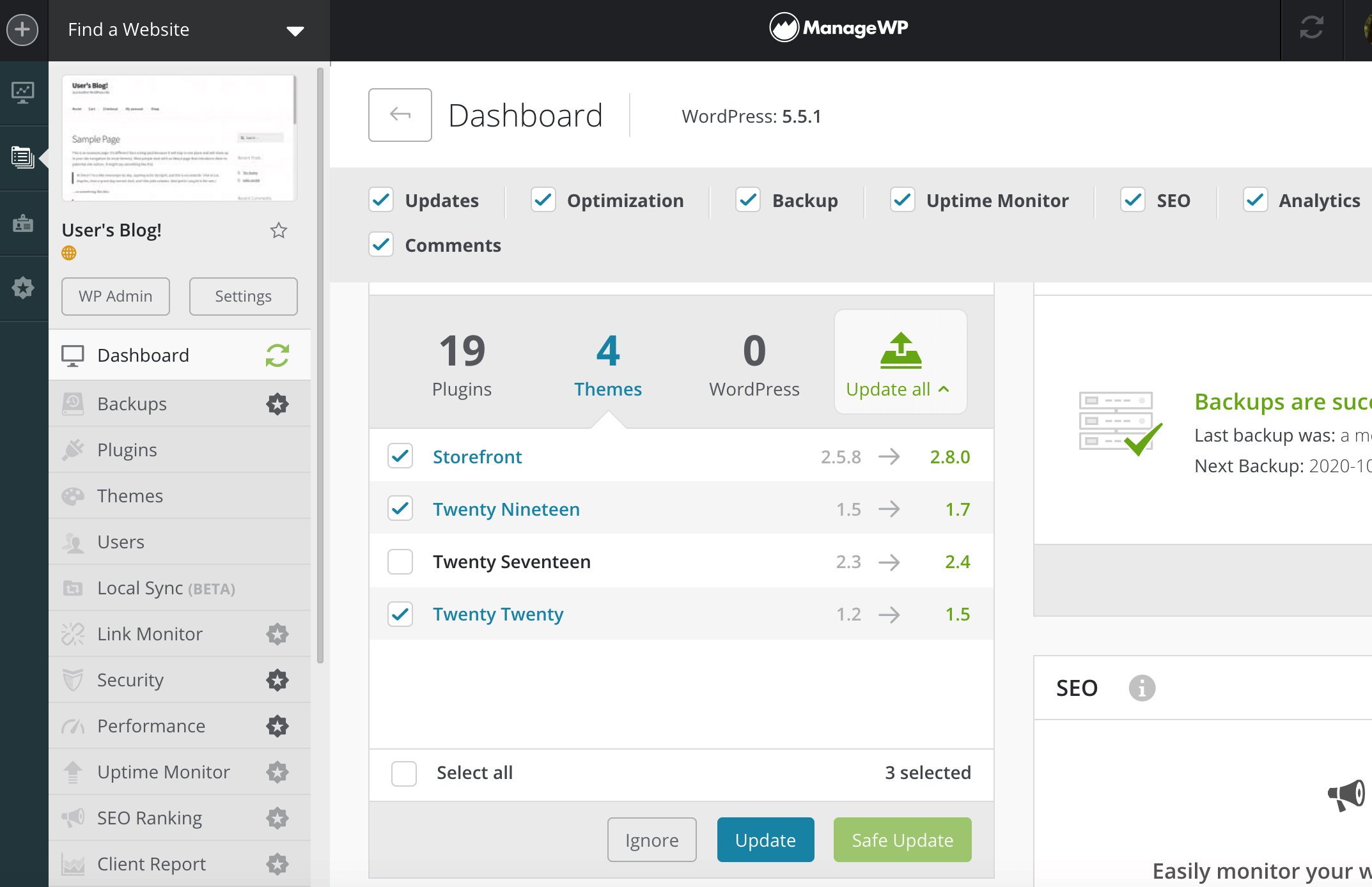 Scheduling theme updates in the ManageWP dashboard.