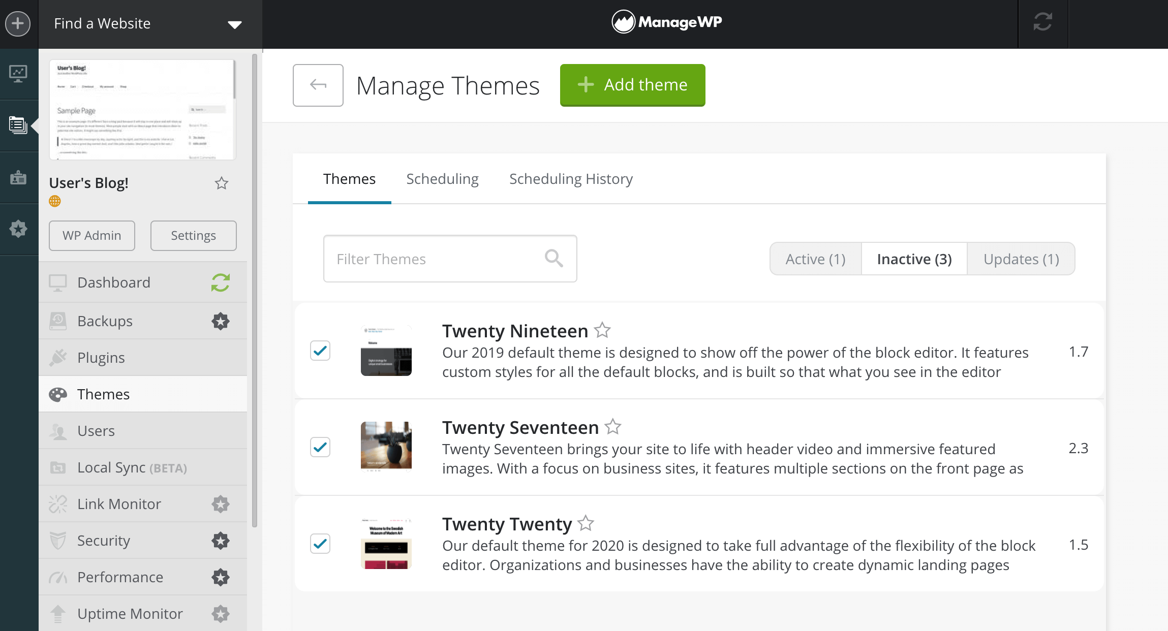 The Manage Themes section of the ManageWP dashboard.
