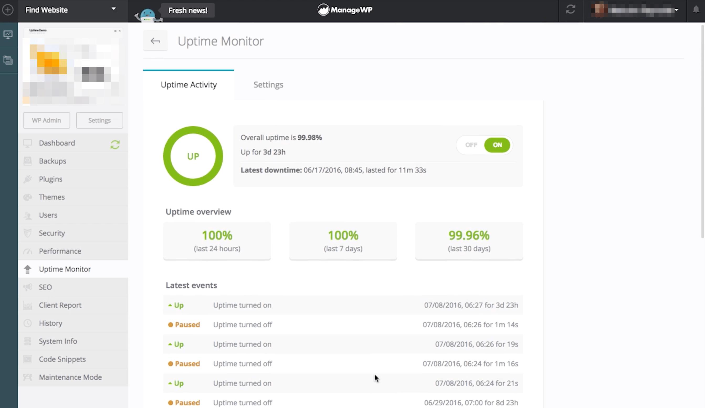 ManageWP's uptime monitor.