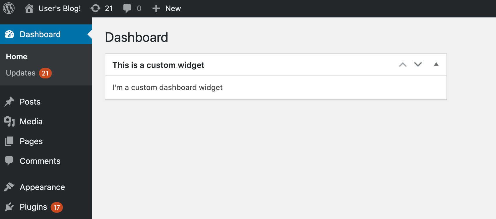 A custom WordPress dashboard widget.