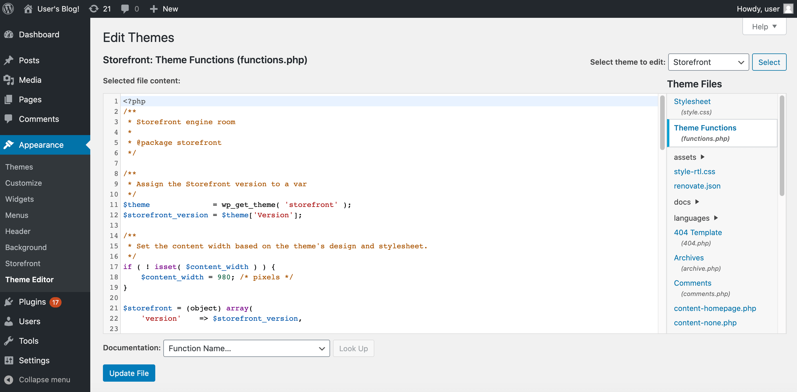 A WordPress client's theme editor.