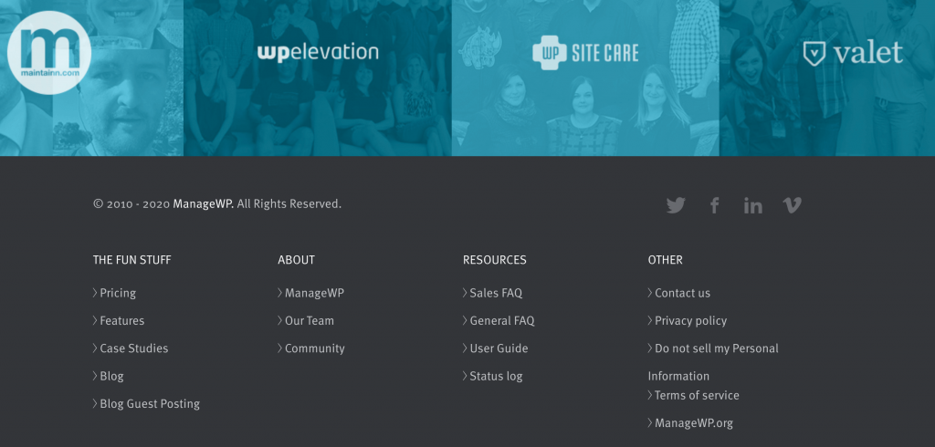 Internal linking on the ManageWP website.