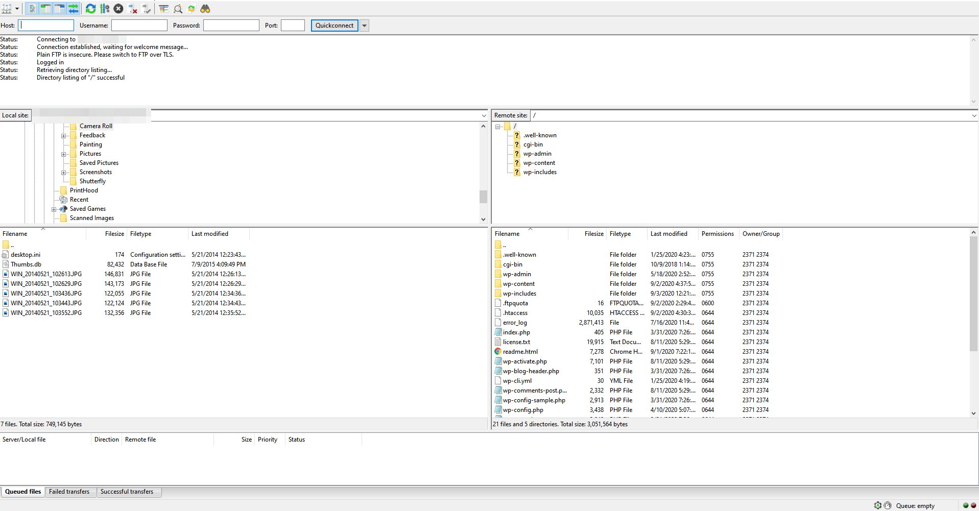 The FileZilla FTP client interface.
