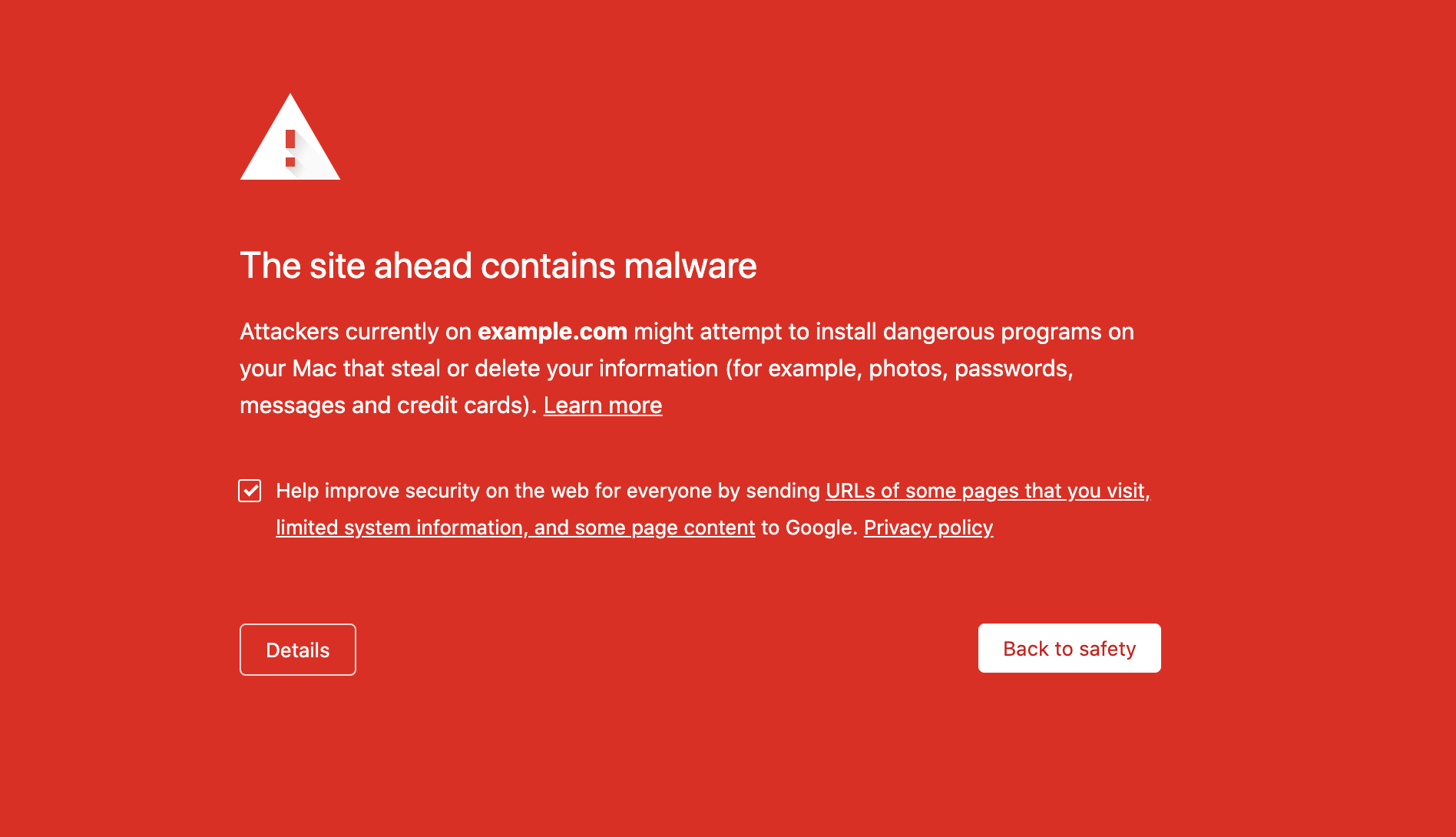 A blacklist malware warning in Google Chrome.