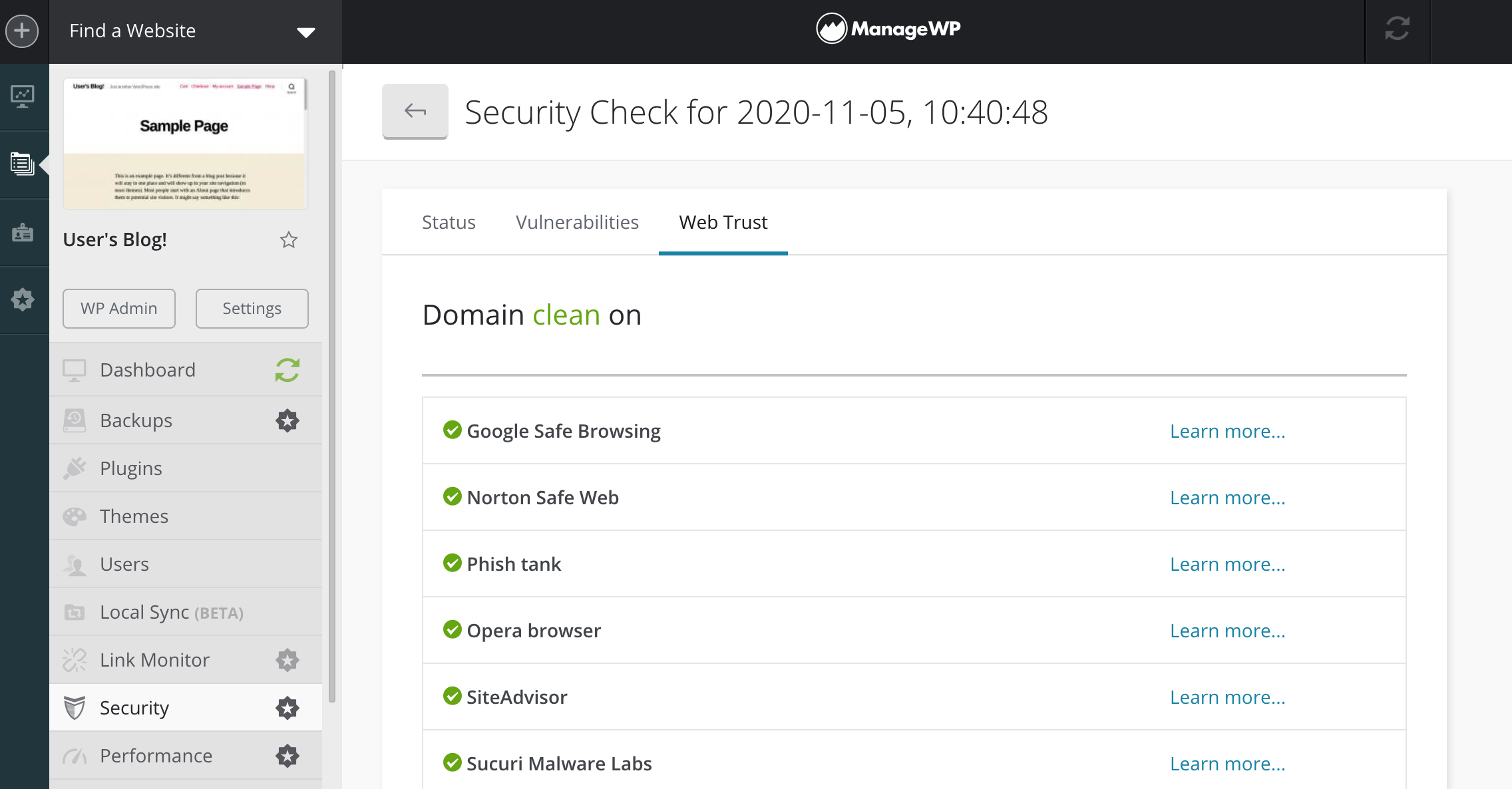 ManageWP's Security Check report, including blacklist information.
