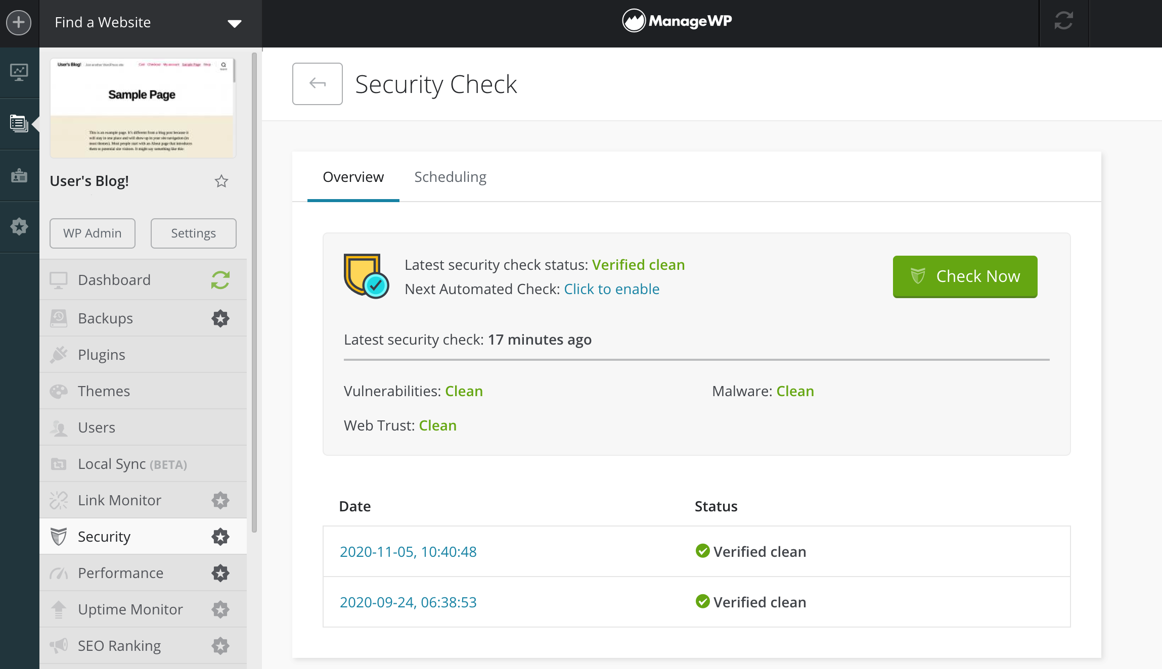 ManageWP's Security Check archive.