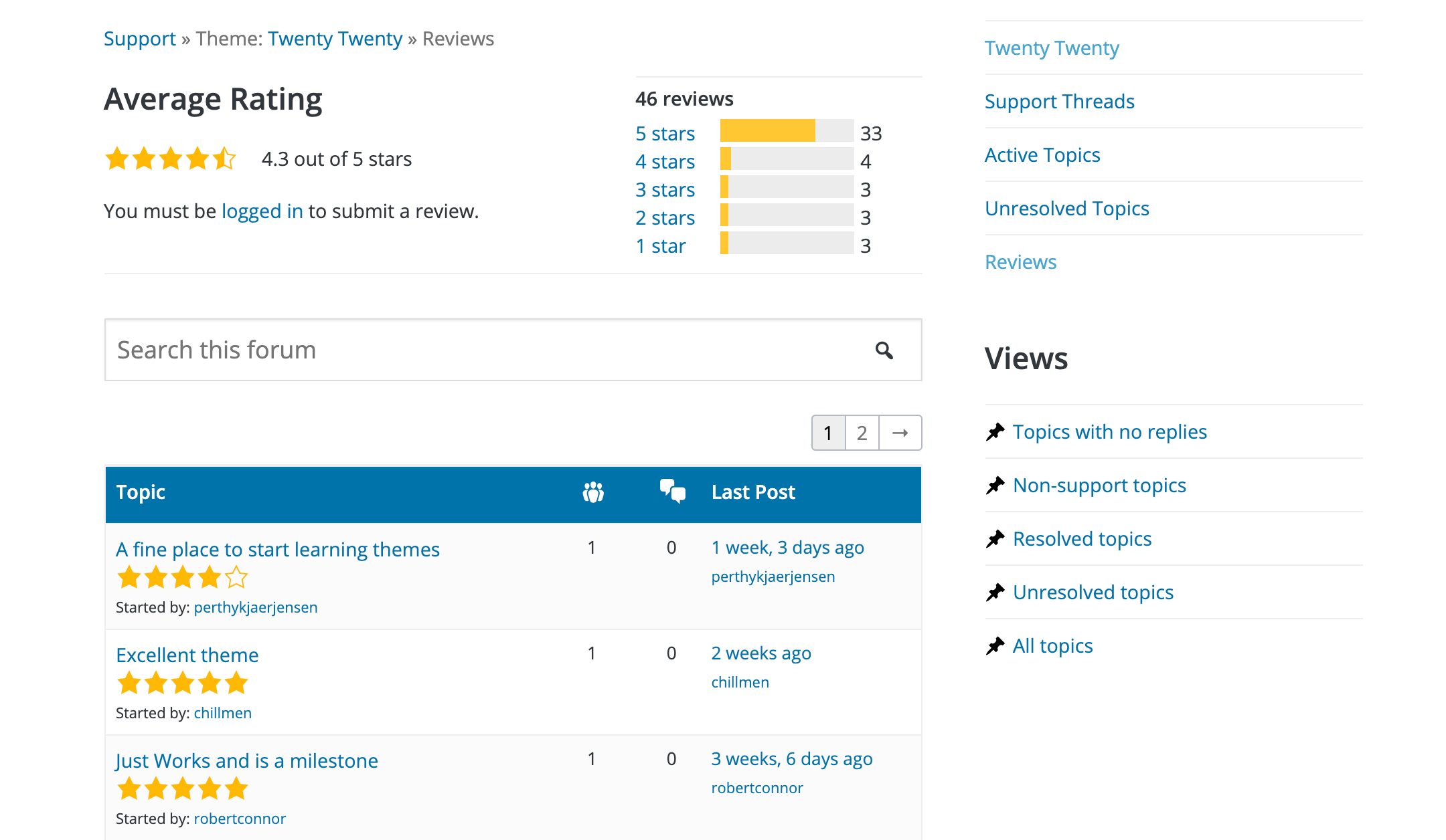 An example of user reviews for a theme in the WordPress Directory.