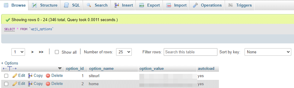 Updating a site URL in phpMyAdmin.
