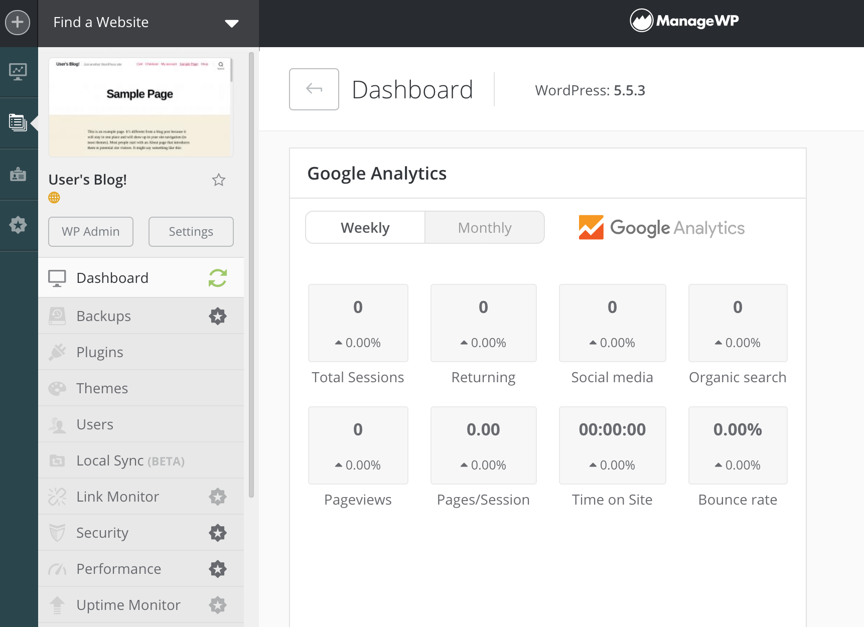 The ManageWP dashboard.