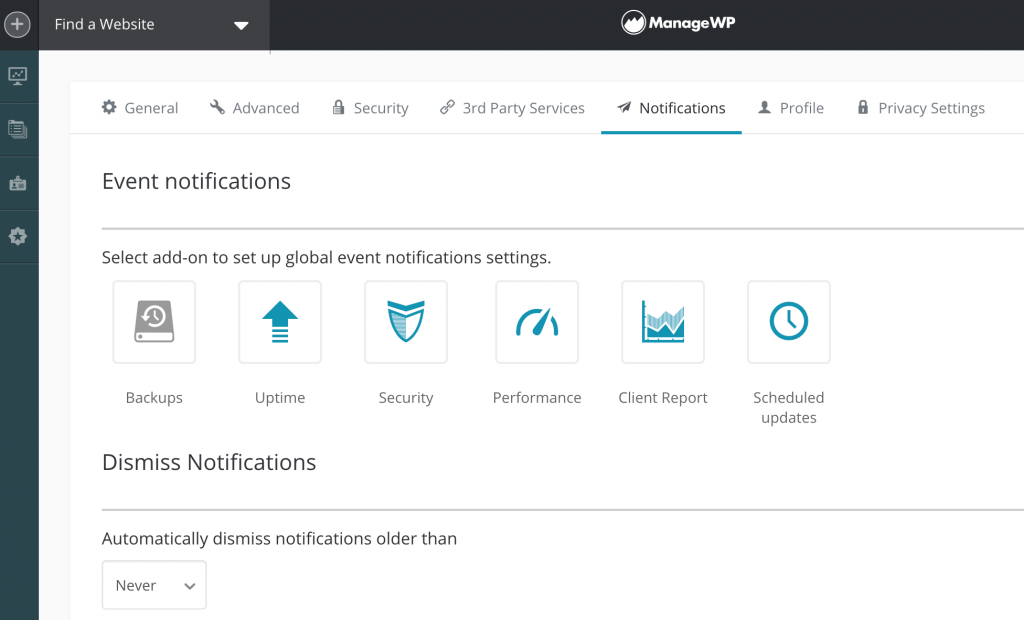 Event notifications in the ManageWP dashboard.