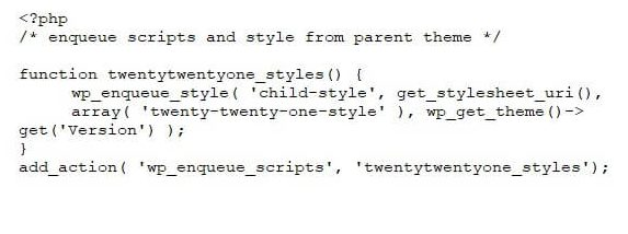 A child theme's function.php file before any edits.