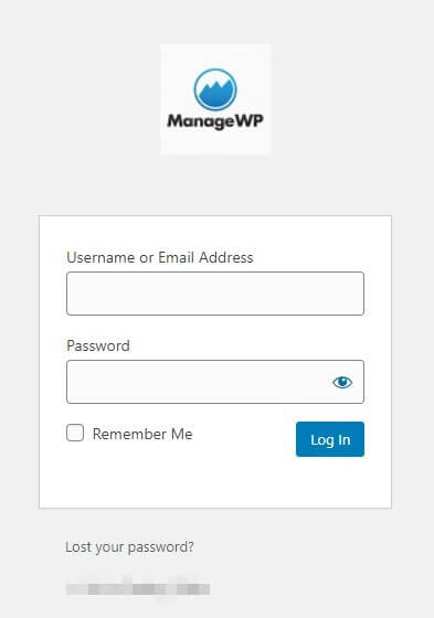 The WordPress login screen, customized with ManageWP's logo.