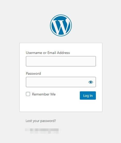 The default WordPress login screen, displaying the WordPress logo.